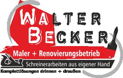 Logo der Firma Walter Becker. Walter Becker als Schriftzug mit verschiedenen Leistungen.